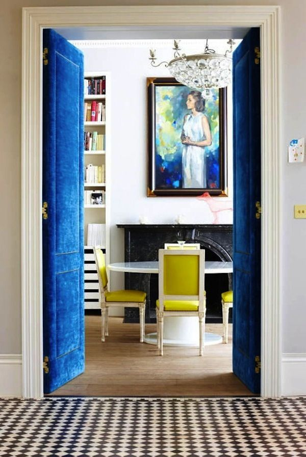 Royal blue and chartreuse