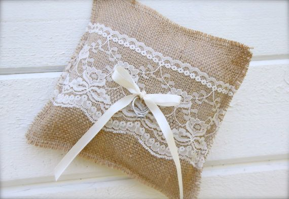 Kind of adorable for our summer themed wedding  BURLAP RING BEARER pillow by butterflyabove on Etsy, $20.00