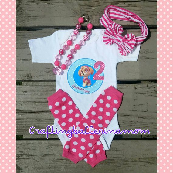 Skye Birthday Paw Patrol Personalized Girl Shirt Onesie - First Birthday - Second Birthday - Paw Patrol Party - Pink - Headband - Tutu