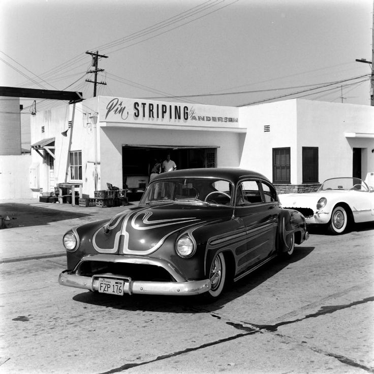 Pin Striping by Andersen. Joe Andersen's Custom-Paint Shop. Photo by Eric Rickman, 1958.