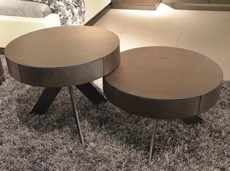"VGBBMH1307 Modrest 24"" Round Coffee Table Set with 2 Tables 1 Pull Out Drawer on Each Table and Metal Base in Brown Oak Finish"