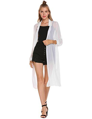 4ae6109d19d78 Romwe Women s Long Sleeve Open Front Sheer Cover Up Roll Up Sleeve Button  Shirt Cardigan