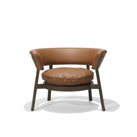 eugenio gerli p28 tigerwood and leather lounge chair for tecno