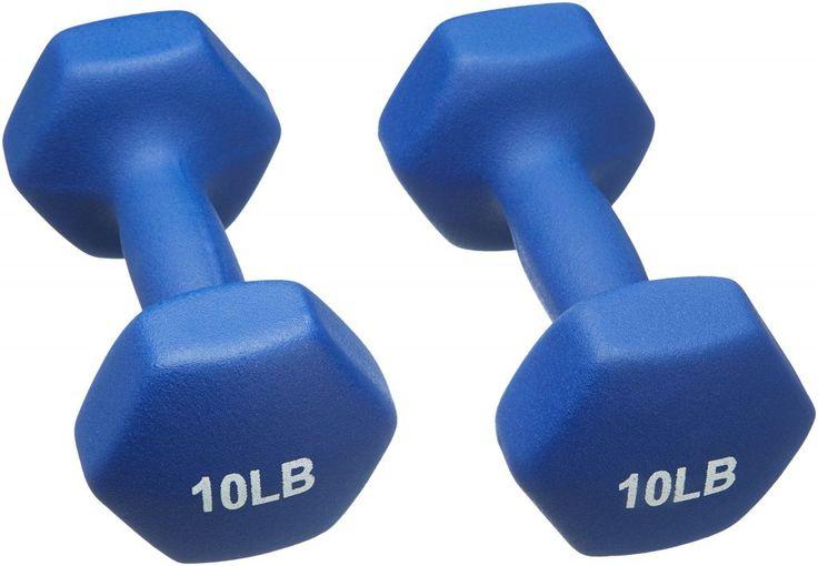 Amazonbasics 10 pound neoprene dumbbells weights set of