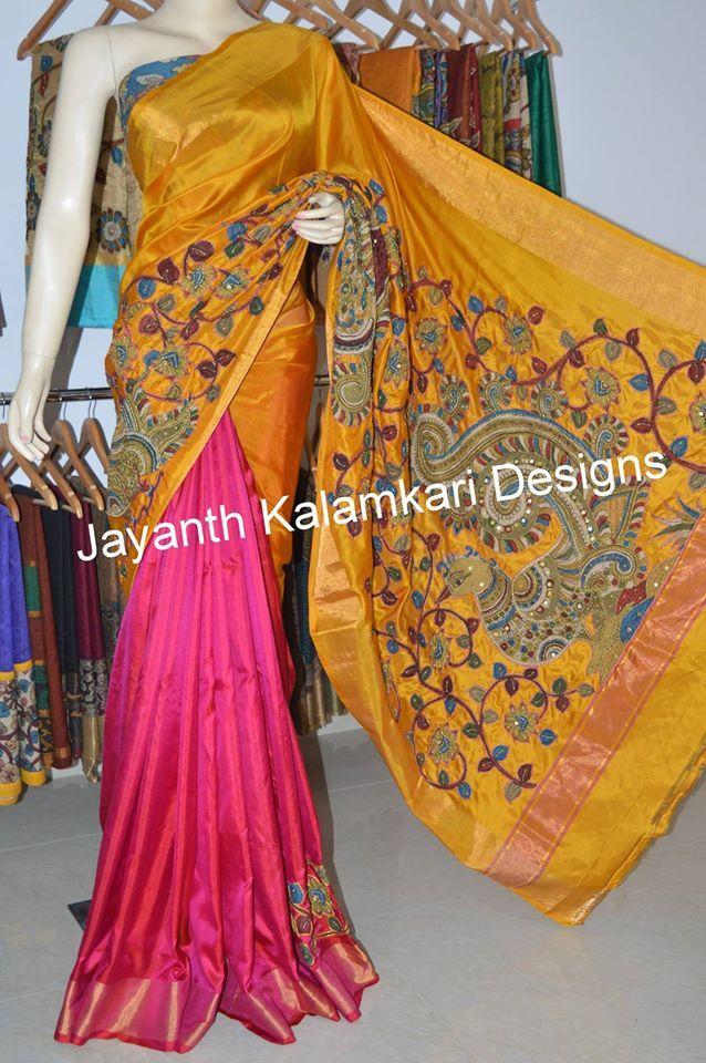 Uppada silk with pen kalamkari patch work saree JKD4182