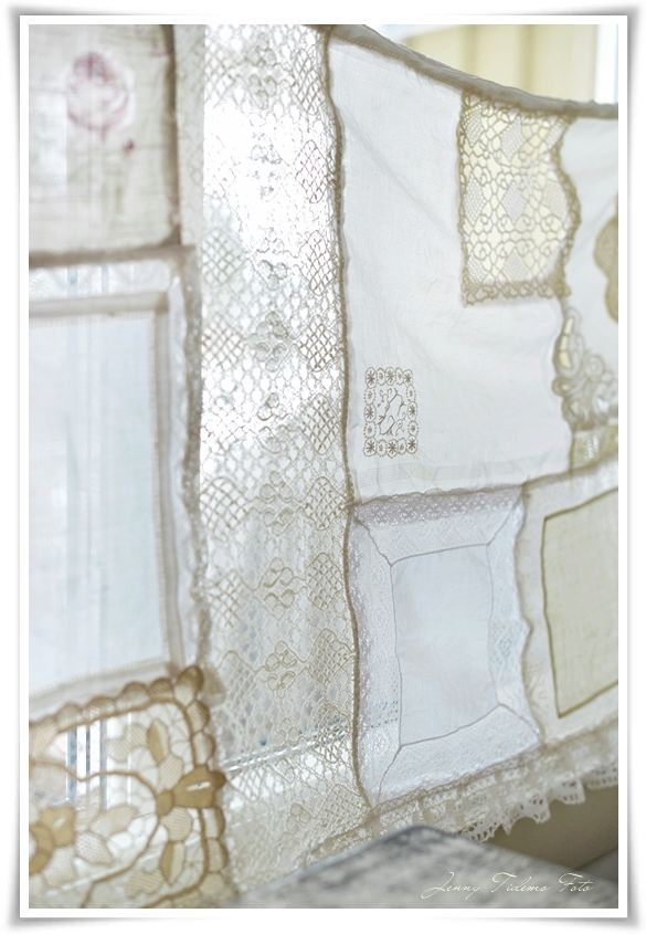 DIY:  How to Sew a Curtain from Linen Napkins - tutorial explains how to sew together tablecloth scraps, embroidered pieces, lace, etc. to create your own vintage patchwork curtain panels. This is a perfect way to use torn or scrap fabric pieces - via Madame Petite