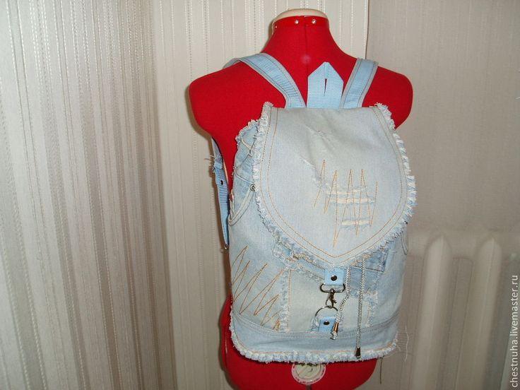 """Купить Рюкзак женский """"Хиппи"""" - голубой, джинсовый стиль, рюкзак, хиппи стиль"""