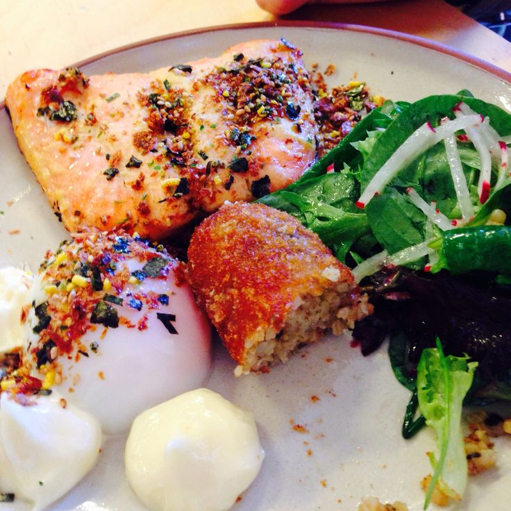 Japanese fusion breakfast [miso grilled king salmon, smoked eel croquette, 63' egg, radish petit salad & kewpi mayonnaise]
