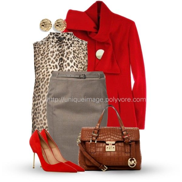 Red & Leopard by uniqueimage on Polyvore featuring s.Oliver, Kurt Geiger, MICHAEL Michael Kors, White House Black Market, women's clothing, women's fashion, women, female, woman and misses