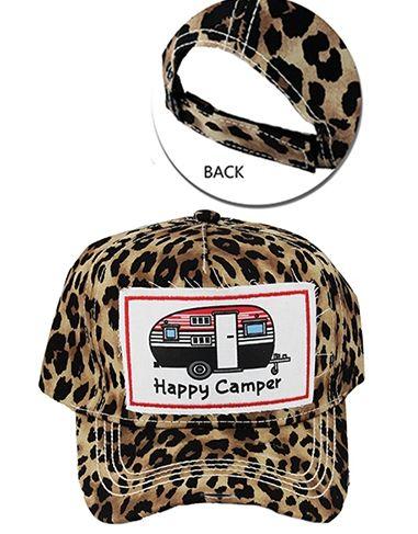! 1 Cheetah Happy Camper Baseball Cap