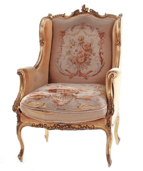 Louis XV Style Carved Giltwood Wing Chair