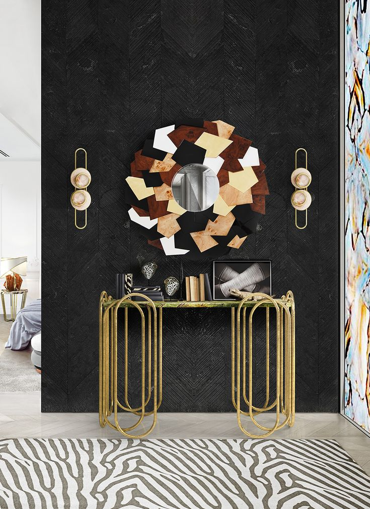 Andalusite Wall Mirror - A mirror that combines different materials like gold leaf, black and white lacquers, walnut wood and poplar root finished with high gloss varnish. #andalusite #wallmirror #wall #mirror #muranti #luxury #furniture #interiordesign #trends #homedecor #style #modern #furnituredesign  Find more at: www.muranti.com
