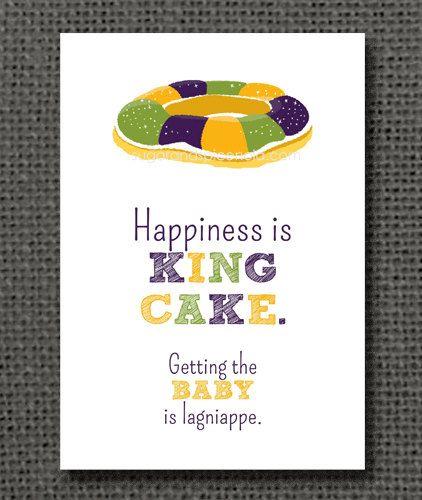 5x7 Mardi Gras Print - King Cake, New Orleans, NOLA, Mardi Gras on Etsy, $10.00