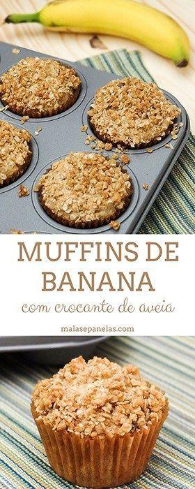 Muffins de Banana com Crocante de Aveia | Malas e Panelas