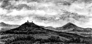 Hazmburk and Milešovka, České středohoří, volcanic landscape, North Bohemia. Watercolor by Jana Haasová