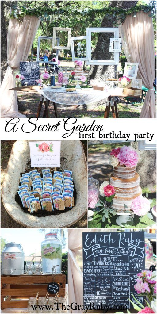 A Secret Garden First Birthday Party - unique birthday party ideas, first birthday sign, garden party, cake table, naked cake, seeds as favors