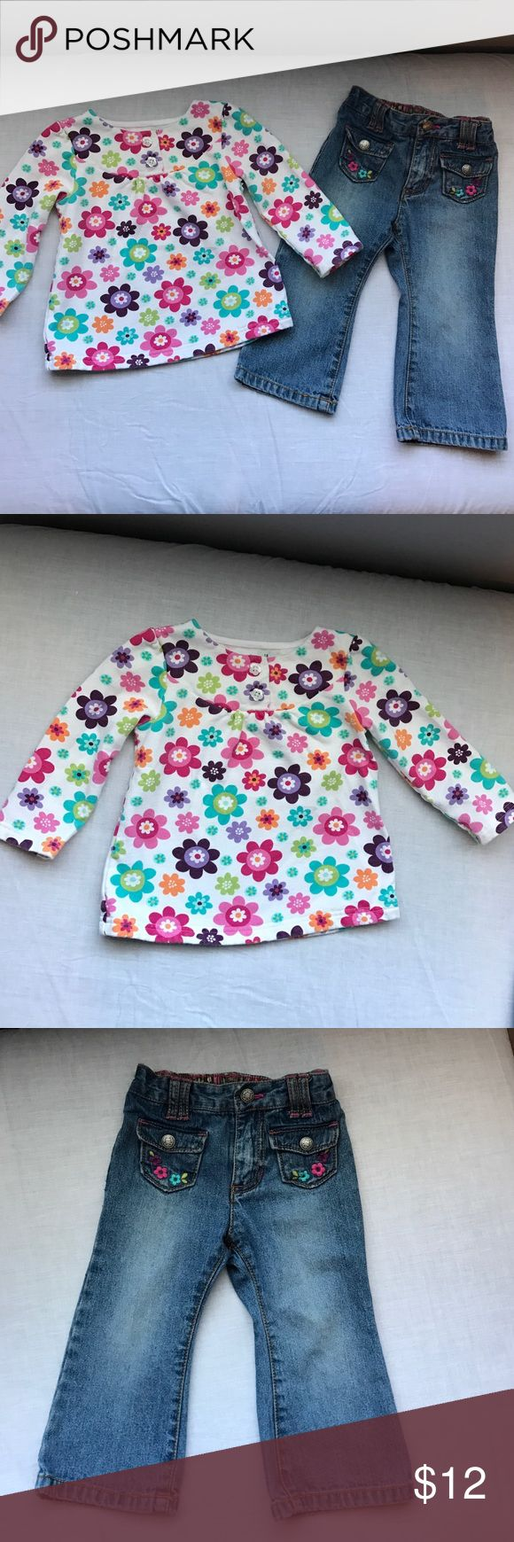 Jumping Beans top and Carters Jeans Jumping Beans floral patter top, sweatshirt material and Carters brand jeans with floral embroidery detail. Both items are size 18 months and in excellent condition no rips or stains. I have lots of children's clothing check out my closet! Matching Sets