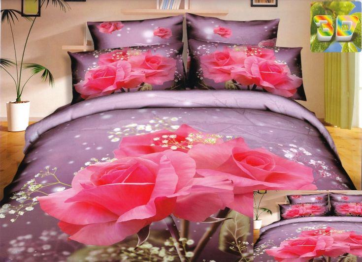 Fioletowa pościel bawełniana z różowymi różami