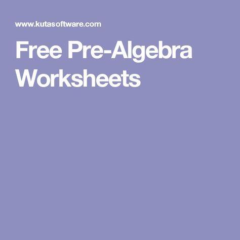 Free Pre-Algebra Worksheets