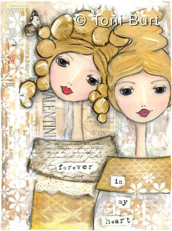 Friendship art print, inspirational gift, soul sister, gift best friend, little sister, big sister, blonde girls 8×11 – forever in my heart