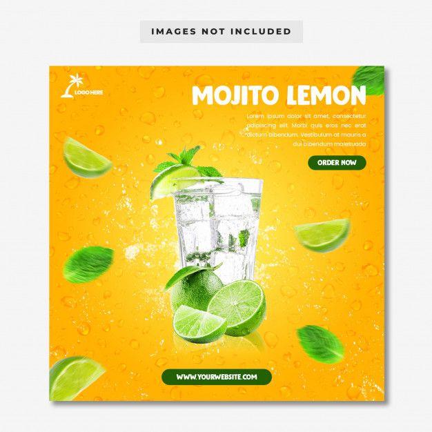 Mojito Lemon Menu Social Media Instagram Template Mojito Instagram Template Tropical Alcoholic Drinks