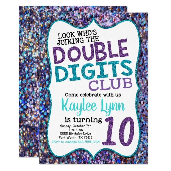 Double Digits 10th Birthday Party Invitation 10th Birthday Party Ideas And Inspira Girls Birthday Party Themes 10th Birthday Parties Sleepover Birthday Parties