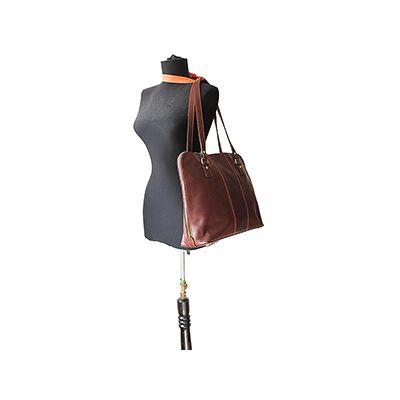 Carla Ladies Italian Dark Brown Leather Laptop Briefcase Handbag - £119.99