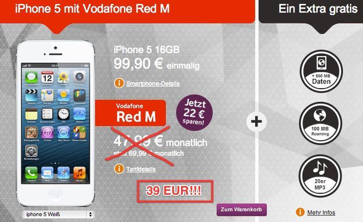 Preisfehler? Vodafone Red M mit iPhone 5 16GB für 39 EUR monatlich! (Junge Leute) - http://apfeleimer.de/2013/05/preisfehler-vodafone-red-m-mit-iphone-5-16gb-fuer-39-eur-monatlich-junge-leute - Ein iPhone 5 16GB weiß oder schwarz mit 1GB Datenflat im Vodafone Red M Allnet Flat Tarif für monatlich nur 39 EUR? Wer aktuell zwischen 18 und 25 Jahre jung, schwerbehindert (mit Ausweis) oder Student unter 30 Jahre ist kann sich das iPhone 5 Paket bei Vodafone gerne abgreifen. Nor