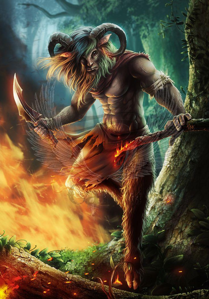 SATYRES = (MYTHOLOGIE GRECQUE) Personnages ayant les oreilles, les membres inférieurs et la queue d'un bouc pouvant s'associer au dieu Pan. Ils peuvent accompagner le dieu Dionysos ainsi que les nymphes. (Illustration : TIRA-OWL - Satyr)