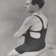 Mens 1920s Swimsuit, Swimming Costume, Bathers, Knitting Pattern. Bill found the stocking stitch rough in the gusset area but kept his composure for the photo.
