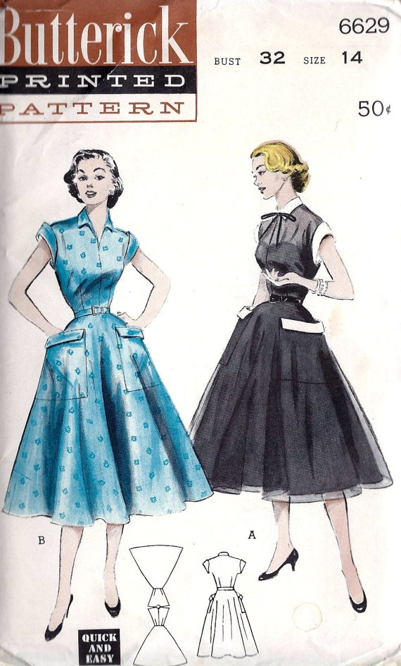Adorable 1950s dress pattern! Wide pockets make the full skirt look even wider.