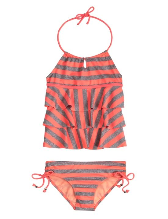 Neon Stripe Tankini Swimsuit | Tankinis | Swimsuits | Shop Justice