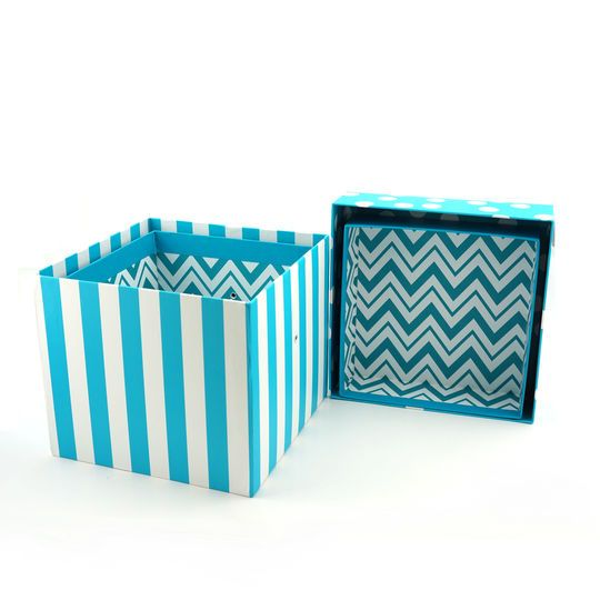 Folding Gift Boxes by Celebrate It™, Turquoise Chevron, 4 Pack