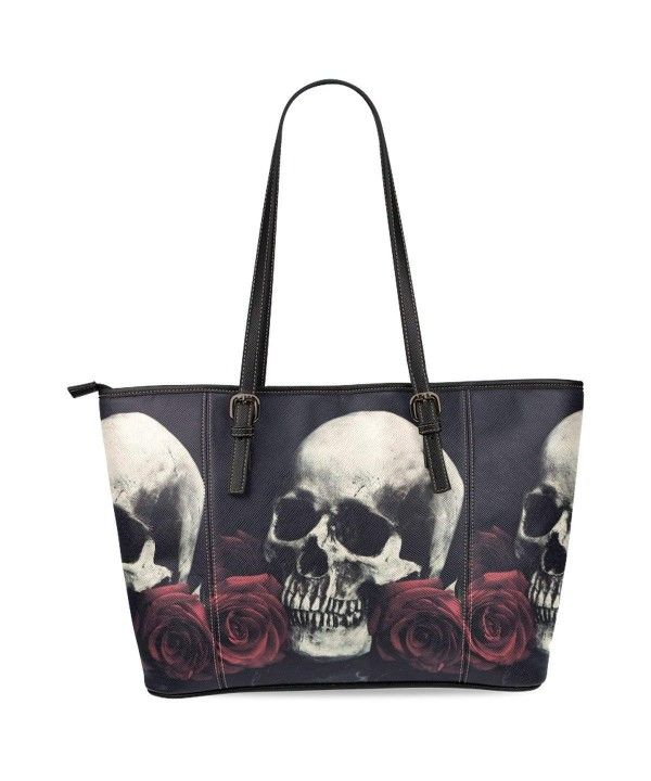 1f1d61198a7c Sugar Skull Women s Leather Tote Shoulder Bags Handbags - Black ...