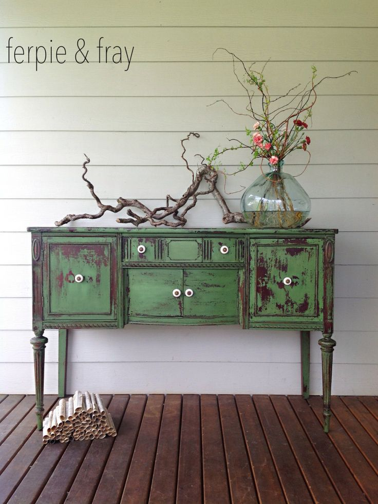 Buffet by Ferpie and Fray in Tavern Green by Old Fashioned Milk Paint Co. (and Maison Blanche Dark Wax)