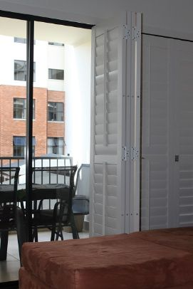 Folding patio shutters Apartment living