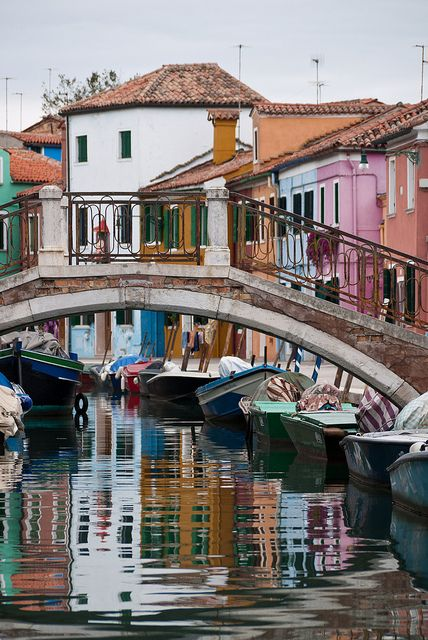 Casas de Burano, Italia.