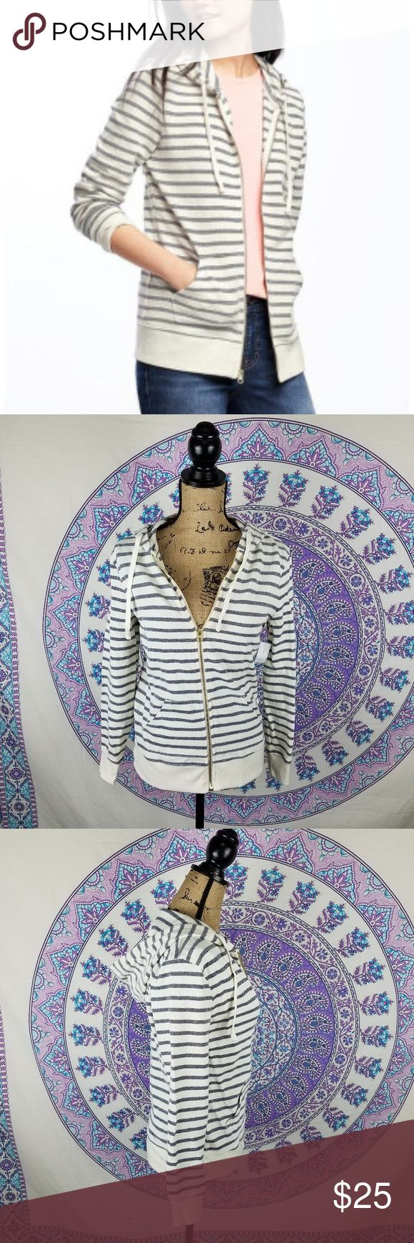 Old Navy Women's relaxed striped full-zip hoodie Women's Old Navy white and grey striped zip up hoodie, NWT, size XS, long sleeve, pockets, drawstring hoodie, gold zipper, Rib-knit hem,  Soft, medium-weight pique cotton blend, approximate measurements flat in inches bust 17 1/2 waist 16 1/2 length 24 1/2, Old Navy Women's relaxed striped full-zip hoodie Old Navy Tops Sweatshirts & Hoodies