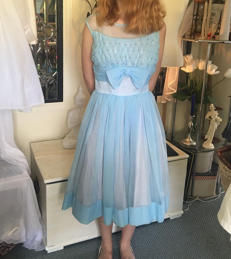 1950's Baby Blue & Light Pink Lined Nylon Calf Length Sleeveless High-Waisted Petite Party Dress with Crinoline Skirt, Rhinestones Sz. 2 SM by TwinMoonHealing on Etsy