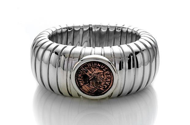 A sterling silver tubogas bracelet with an ancient Roman coin, from the Luna collection