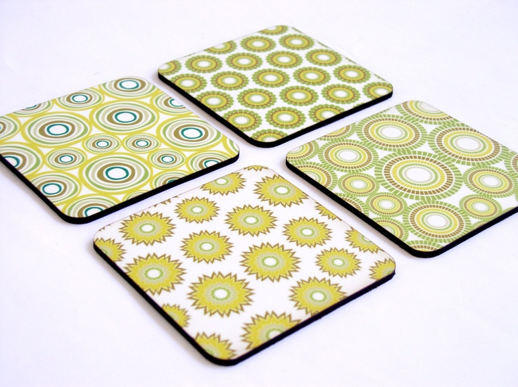 home bright green fresh geometric decor coaster set dorm decor office desk accessories back to school lemon olive minty green mixed design. $19.00, via Etsy.