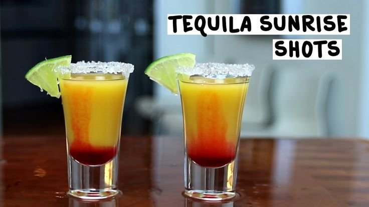 TEQUILA SUNRISE SHOT Tequila Orange Juice Grenadine PREPARATION 1. Rim a shot glass using lime and coarse salt. 2. Pour in tequila, orange juice, and a dash of grenadine. Garnish with a lime wedge. DRINK RESPONSIBLY!