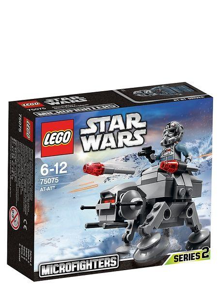 Lego Star Wars, AT-AT. Etene kapinallisten tukikohtaan Hoth-planeetalla tällä upealla AT-AT-mikrohävittäjällä. Imperiumin talsijan pienoisversiossa on liikkuva pää ja jalat, 2 napsautettavaa ohjusta ja miniohjaamo. 6–12-vuotiaille. Tuotenro 75075.