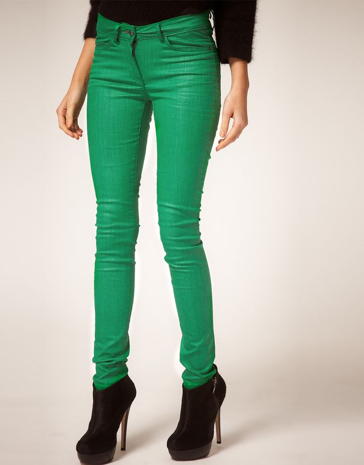 these coated color skinny jeans from Asos is an affordable alternative to Joe's #color skinny #jeans $71.62