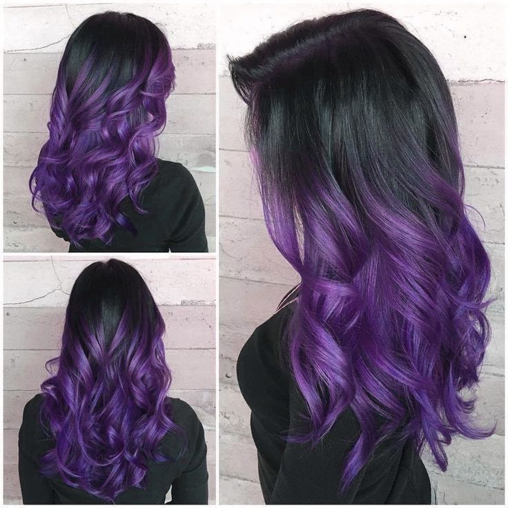 Purple Dip Dye Curled♡ #purple #dipdye #curls #curly #curlyhair #dyedhair #dy
