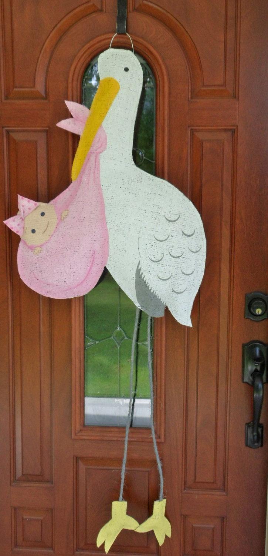 New baby girl stork burlap door hanger via etsy