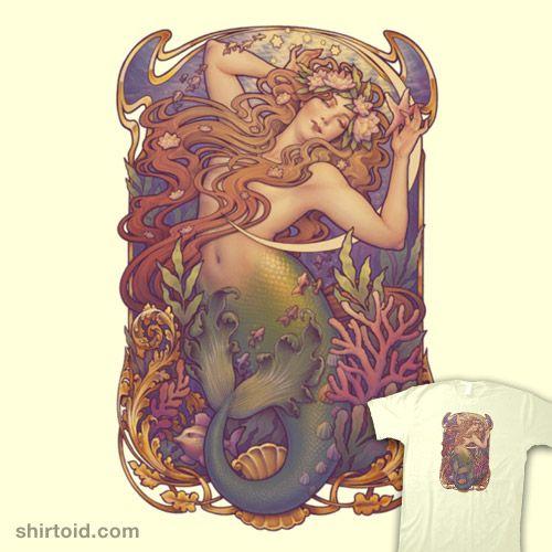 Den Lille Havfrue   Shirtoid #artnouveau #hanschristianandersen #medusadollmaker #mermaid #thelittlemermaid