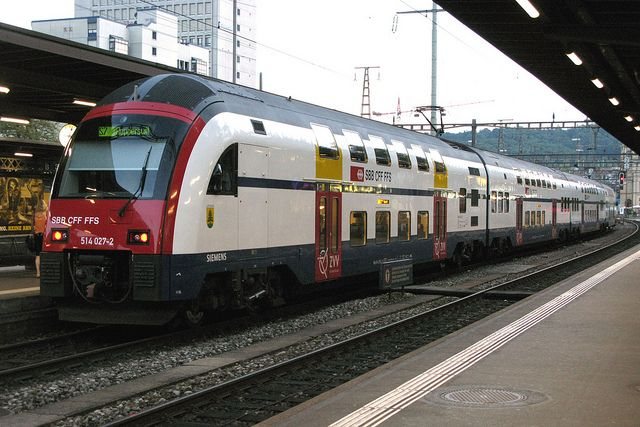 A Swiss Local Suburban service train (called the S-Bahn) in the city of Zurich. Like we have in Mumbai...
