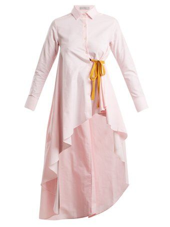 Tie-waist dip-hem cotton shirt