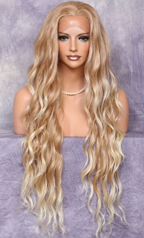 Human Hair Blend Long Full Lace Front Blonde Mix Layered Wavy Heat Ok 27 613 Ebay In 2021 Real Hair Wigs Lace Front Wigs Frontal Hairstyles